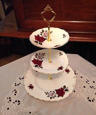 Pretty Vintage Colclough Matching Bone China 3 Tier Cake Stand