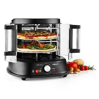 New Pizza Oven Electric Grill 2 Floor Rotating 26Cm Glass Door Stainless Steel