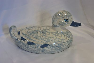 Vintage Loomco large pottery duck blue & white hand painted figure ornament
