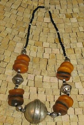 Moroccan Tuareg Old Amber Silver Pendant Necklace-Amber necklace-Amber beads