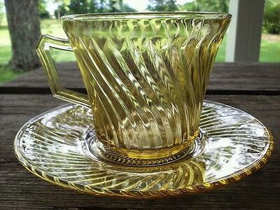 Depression Glass Cup & Saucer Diana Amber Federal Glass 1937-41 (4 available )