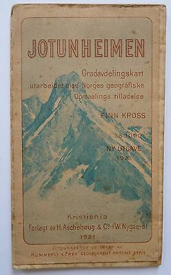 Antique 1921 Kummerly & Frey Map: Jotunheimen Norway