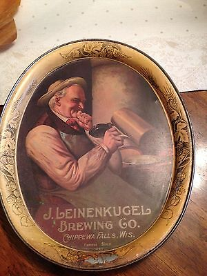 Vintage Antique J. Leinenkugel Chippewa Falls Wisconsin Beer Tray 14-1/2""