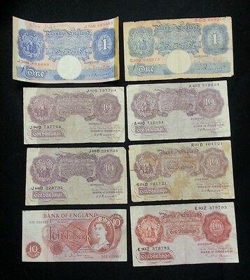 Bank of England 10 Shilling 1 Pound Banknotes. 8 Notes