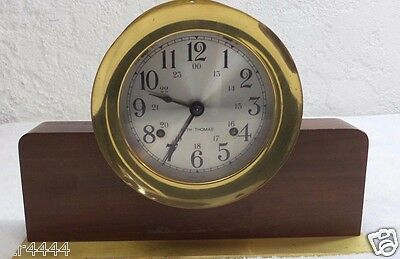 Brass Seth Thomas Corsair Bell Clock Wooden Helmsman Base