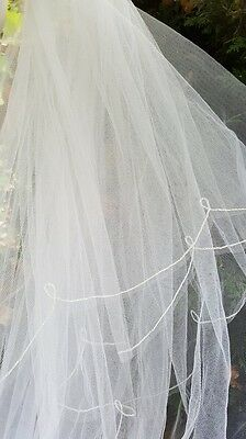 Designer Bridal Wedding Comb Veil 2 Tier White Long Cathedral