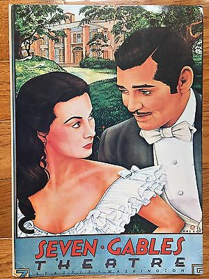 Seven Gables Theatre Gone With The Wind Poster Dolack Printed In France 15x10.5