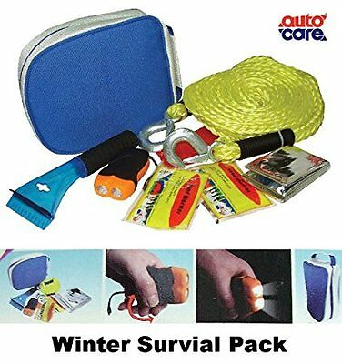 New Autocare CAR WINTER SURVIVAL PACK -Tow Rope, Torch, Blanket, Warmer, Scra