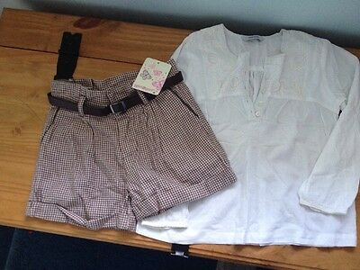 Smart brushed cotton shorts and  pretty top age 5-6 Bnwt