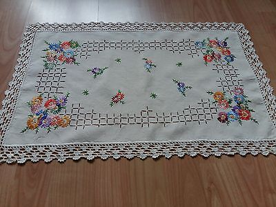 Old Beautiful Vintage Handmade Ivory Table Runner, Crochet Lace, Hand Embroidery