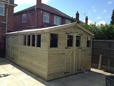 16 x 10 19mm Tanalised pressure treated T&G apex shed workshop