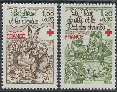 XG-G413 RED CROSS - France, 1978 Fairytales, Tortue And Hare MNH Set