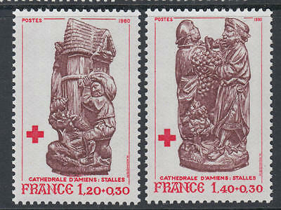 XG-G417 RED CROSS - France, 1980 Amiens Cathedral, 2 Values MNH Set