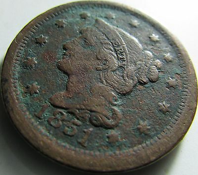 1851 VF- Braided Hair Large Cent in SAFLIP® - Free Shipping
