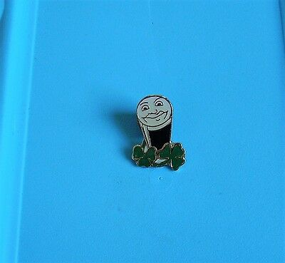 St Patricks day smiling Guinness pint with clover leaves stud pin badge charity