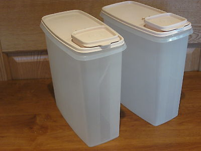 TUPPERWARE 2 vintage sheer 20c large cereal stor n pour keeper containers & lids
