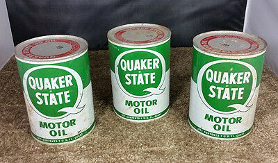 VINTAGE Lot of 3 Sealed Metal Quaker State HD Motor Oil Cans 1 Qt / Green White