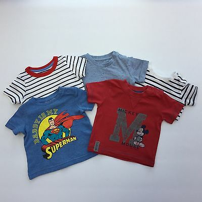 Baby Boy 0-3 Months Bundle 5 T Shirts Tops Mickey Mouse Superman Stripy Blue Red