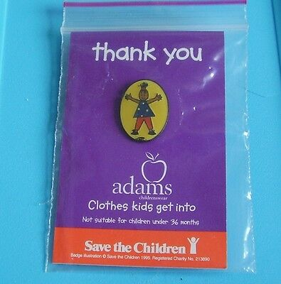 little girl stud pin badge save the children charity