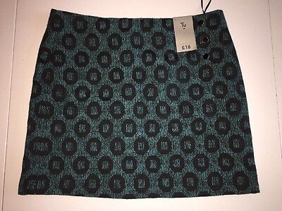 Funky Textured Skirt Size 10 Teal Black New With Tags TU RRP £18
