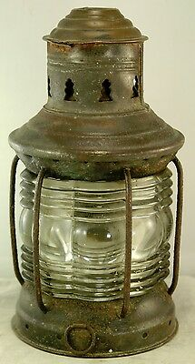 "Antique Marine Lantern, Fresnel Lens, 8"" High, Brass & Black Painted Steel"