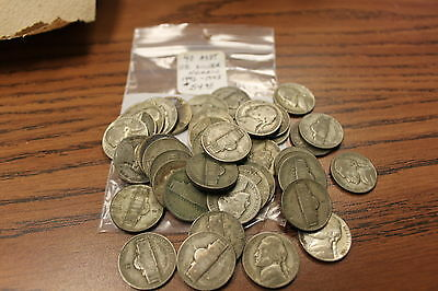 40 Assorted U.s. Silver Nickels 1942-1945 Circulated Condition