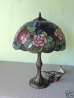 Brand New Tiffany Style Flowers & Butterflies Stained Glass Shade Table Lamp