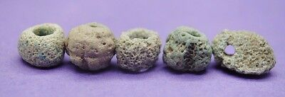 Group of 5 ancient Egyptian clay and faience beads 664-332 BC