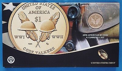 2016 American $1 Coin and Currency Set - Code Talkers - Special Enhanced Coin!