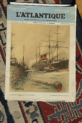 SS NORMANDIE 1935 Maiden Voyage L'Atlantique NEWSPAPER (2nd day EB from NY)