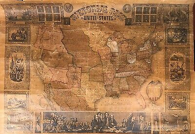 """Antique Pictorial Map Of The United States 1851 Ensign Thayer 43"""" x 32"""""""