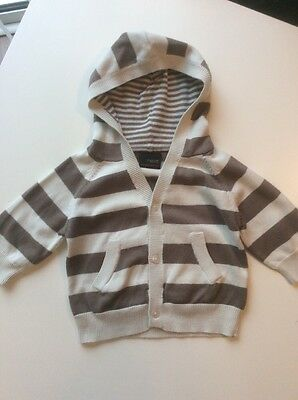 Baby Boy's NEXT Cream & Light Brown Striped Hooded Cardigan Age 3 - 6 months