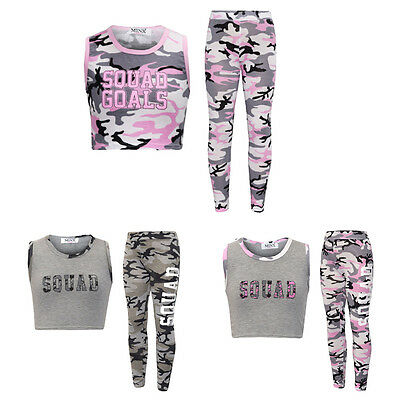 Girls Kids Camouflage Squad Crop Top & Legging 2 Piece Set Outfit 7-13 Years