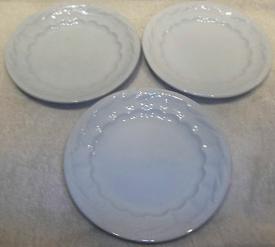 """3 Antique Turner Goddard & Co White Ironstone 8 5/8"""" Wheat Plates NICE CONDITION"""