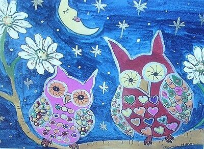 """Fridge Magnet, Colourful Owls at night 4.25"""" by 5.5"""""""