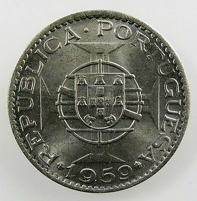 INDIA - PORTUGUESE. 1959 6 Escudo. Brilliant Uncirculated. KM-35.