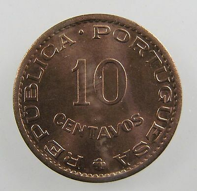 INDIA - PORTUGUESE. 1958 10 Centavos. Red, Brilliant Uncirculated. KM-30