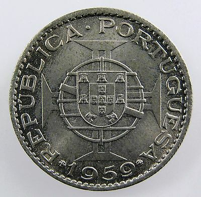 INDIA - PORTUGUESE. 1959 3 Escudo. Co-Ni. Brilliant Uncirculated. KM-34.