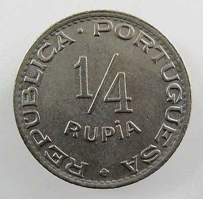 INDIA - PORTUGUESE. 1947 1/4 Rupia , Co-Ni. Brilliant Uncirculated. KM# 25