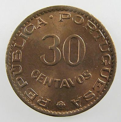 INDIA - PORTUGUESE. 1958 30 Centavos. Red, Brilliant Uncirculated. KM- 31