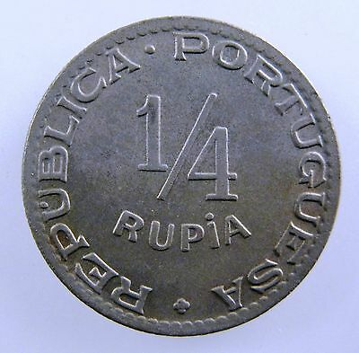 INDIA - PORTUGUESE. 1947 1/4 Rupia, Co-Ni. Uncirculated. KM# 25.