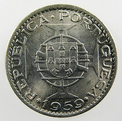 INDIA - PORTUGUESE. 1959 1 Escudo. Co-Ni. Brilliant Uncirculated. KM- 33.