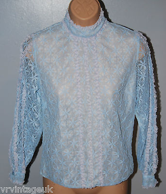 Vintage Franpear Baby Blue Floral Lace Bed Shirt / Top size S/M 50's 60's