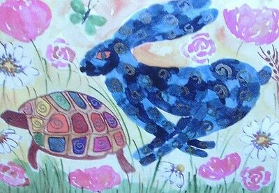 """Fridge Magnet, Quirky hare and a Tortoise  4.25"""" by 5.5"""""""