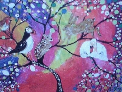 "Fridge Magnet Tree of life in a rainbow sky 4.25"" by 5.5"""