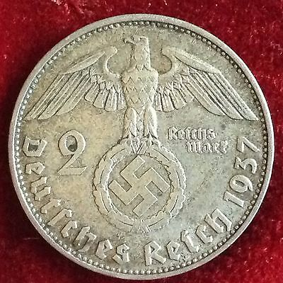 1937 D  Germany 2 Reichsmark Silver Coin