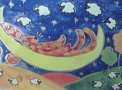"Large Fridge Magnet, Quirky hare on the Moon counting sheep   4.25"" x 5.5"""