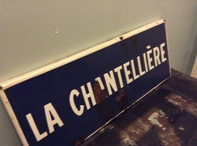 antique enamel cast iron french street house sign