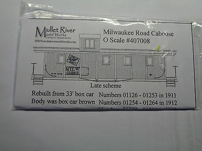 Mullet River O Scale #407008 Milwaukee Road Decal Set