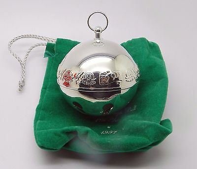 Wallace 1997 Annual Sleigh Bell Silver Plate Ornament 27Th Year